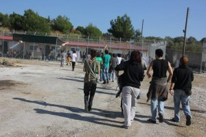 Entering the detention center near Moria. Copyright: Azadi
