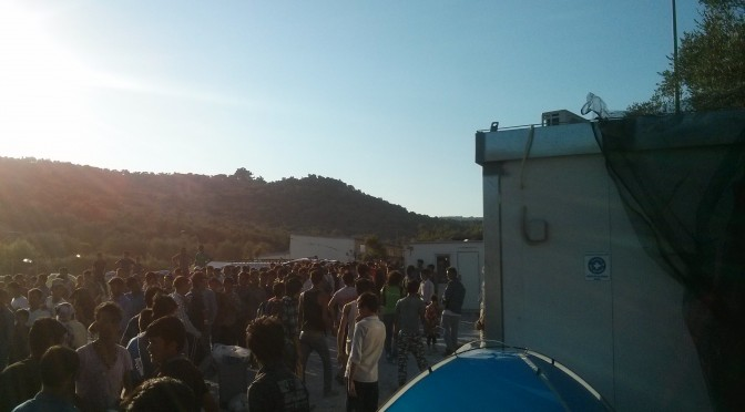 Unnberable conditions in Refugee Camp around the Detention Center of Moria